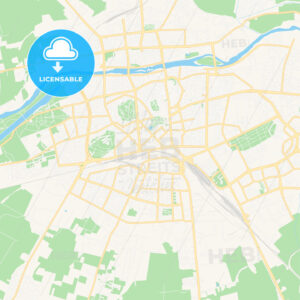 Plovdiv, Bulgaria Vector Map – Classic Colors - HEBSTREITS Sketches