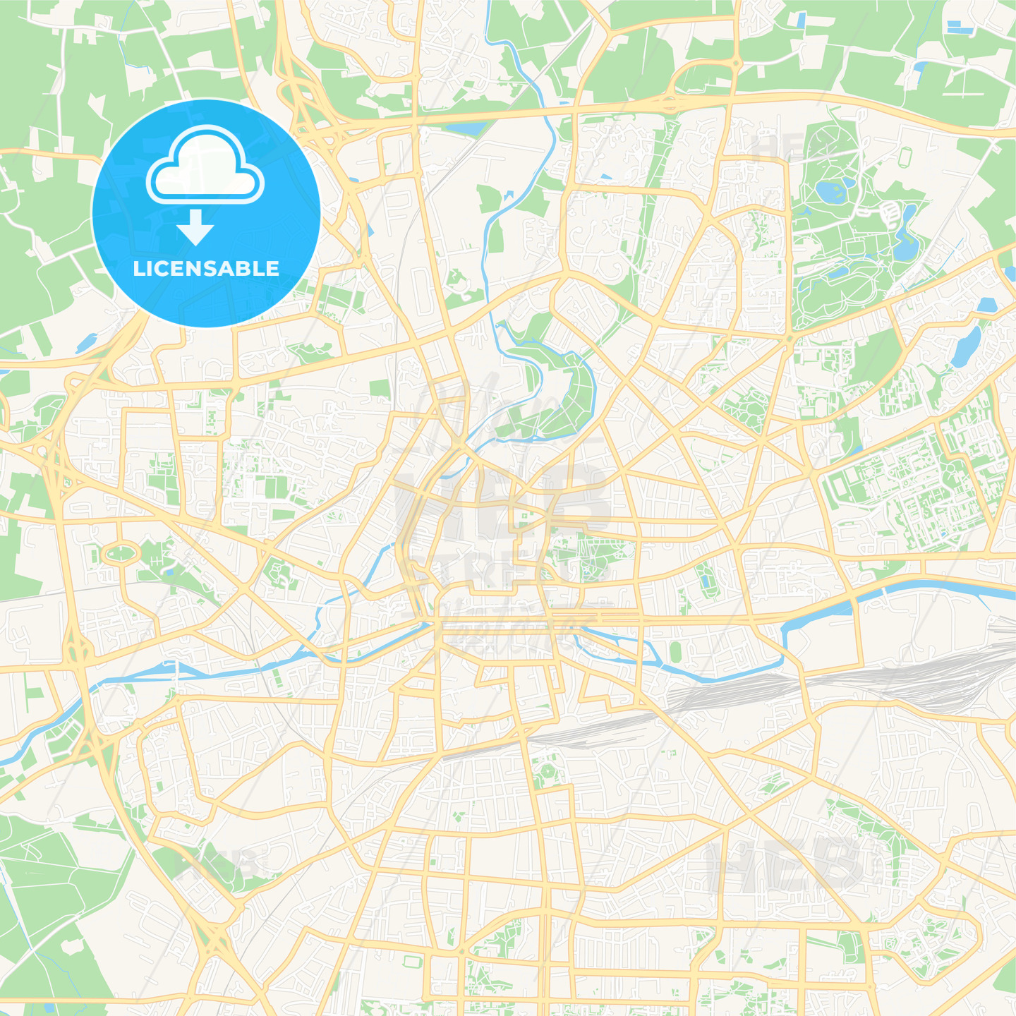 Rennes Map Of France.Rennes France Vector Map Classic Colors