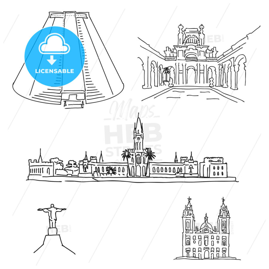 Rio de Janeiro famous architecture drawings - HEBSTREITS