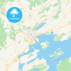 Sandvika, Norway Vector Map – Classic Colors - HEBSTREITS Sketches