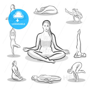 Set of Yoga Poses on white background - HEBSTREITS Sketches