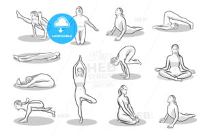 Set of twelve yoga poses - HEBSTREITS Sketches