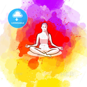 Sitting yoga pose on colorful background - HEBSTREITS Sketches