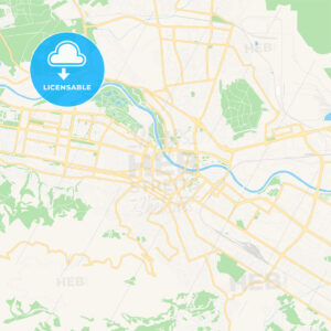 Skopje, Macedonia Vector Map – Classic Colors - HEBSTREITS Sketches