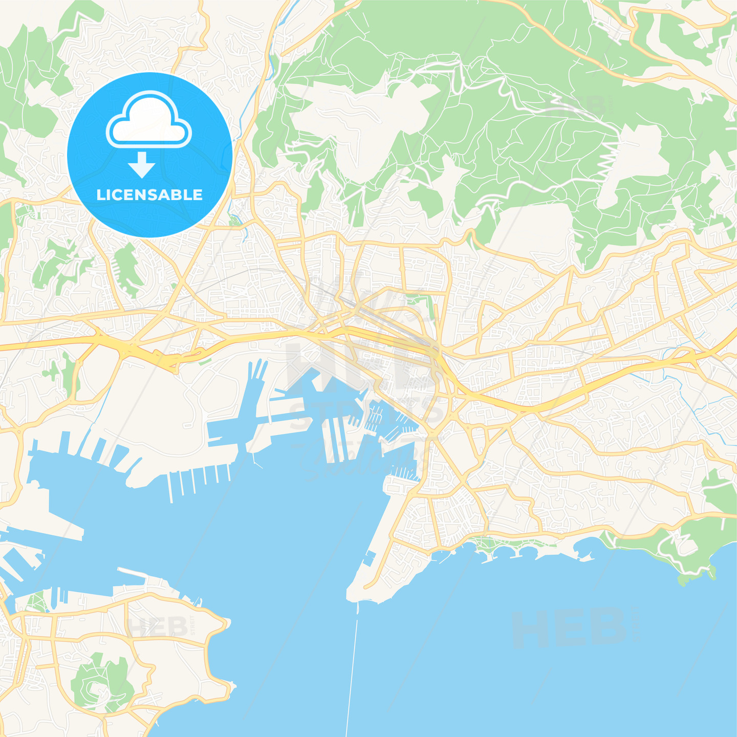 Toulon, France Vector Map - Classic Colors