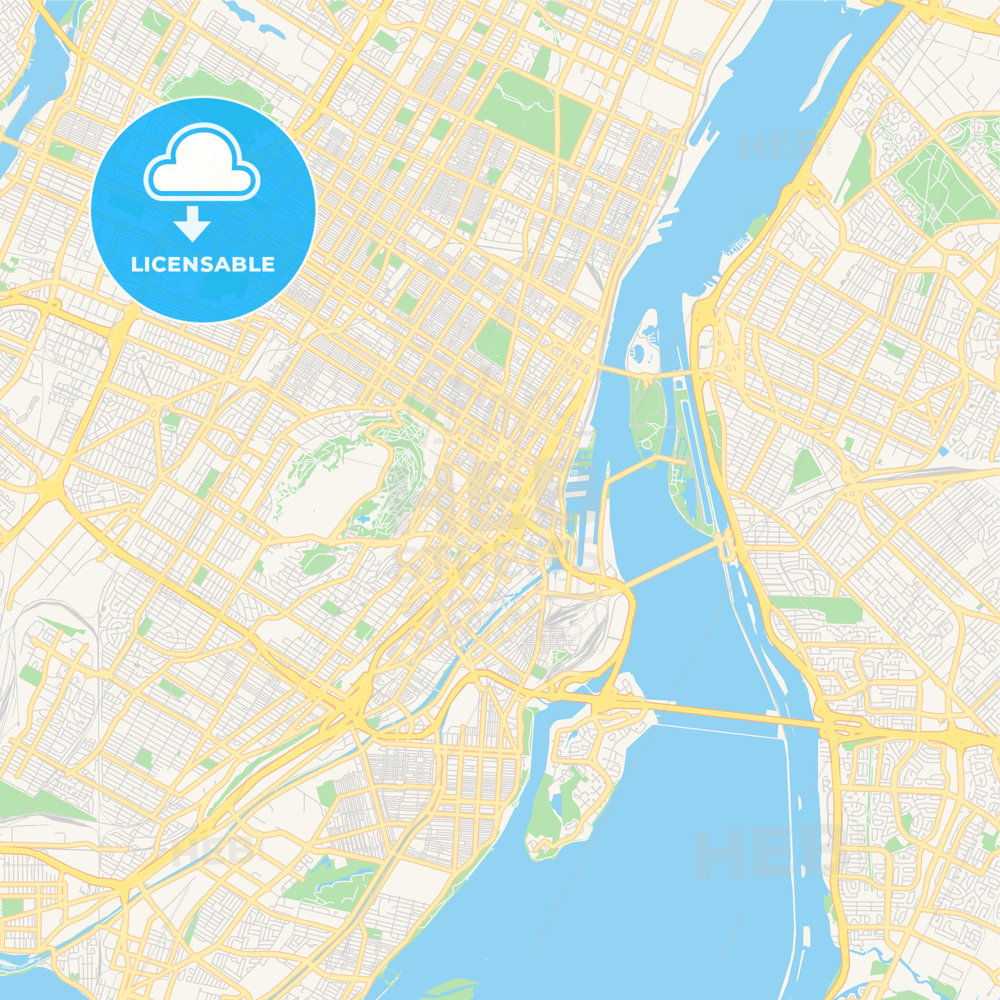 image about Printable Map of Montreal identified as Vacant vector map of Montreal, Quebec, Canada