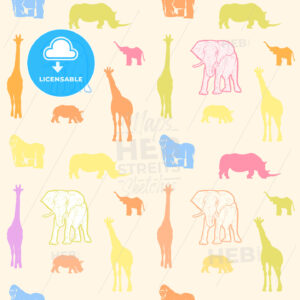 Colorful drawn animals for kids wall art - HEBSTREITS Sketches