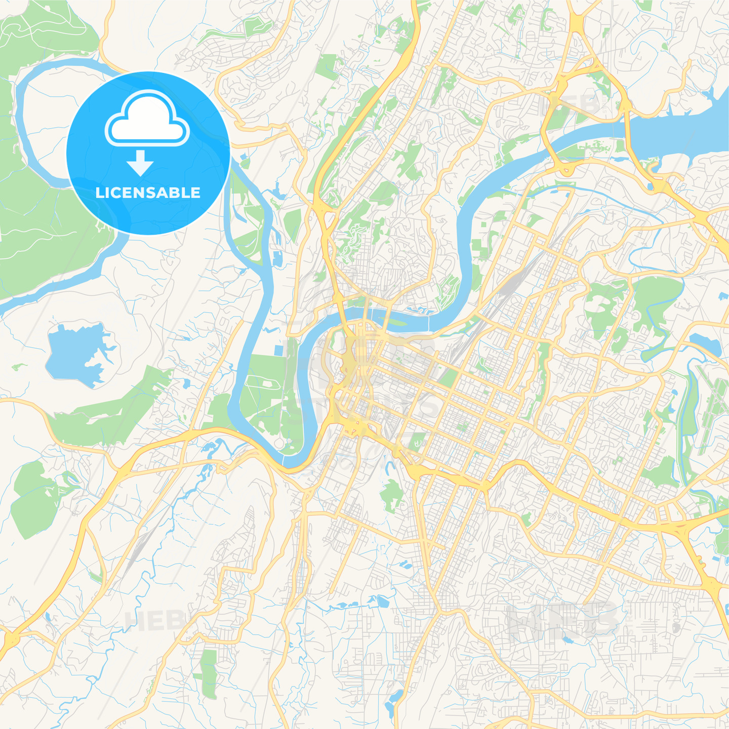 Empty vector map of Chattanooga, Tennessee, USA | HEBSTREITS Sketches