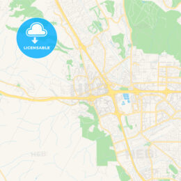 Empty vector map of Dublin, California, USA