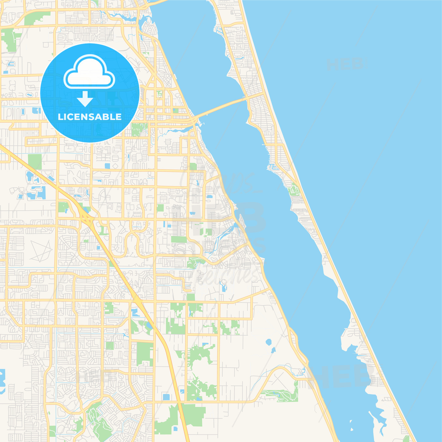 Empty vector map of Palm Bay, Florida, USA | HEBSTREITS Sketches