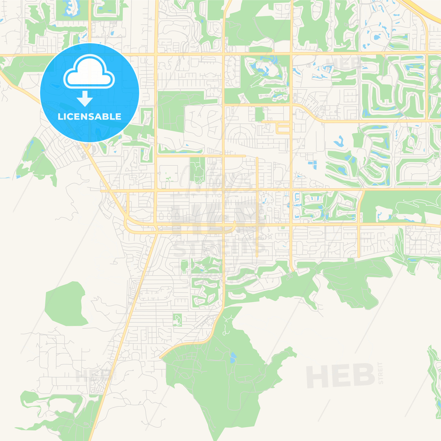 Empty vector map of Palm Desert, California, United States of ...