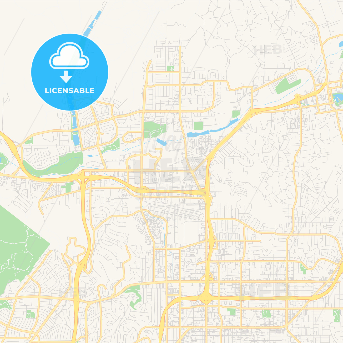 Empty vector map of Santee, California, USA