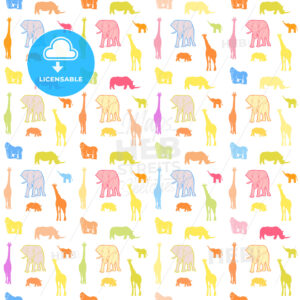 Seamless bright wild animals pattern - HEBSTREITS Sketches