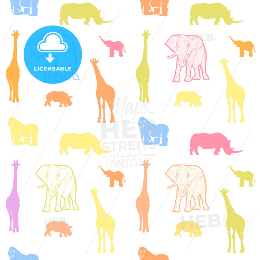 Seamless colorful kids animals art pattern - HEBSTREITS Sketches