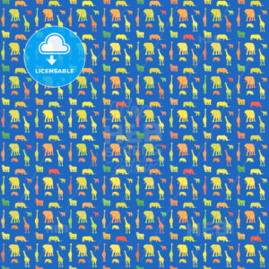 Seamless colorful print animals pattern on blue - HEBSTREITS Sketches