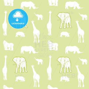 Seamless light green safari animals - HEBSTREITS Sketches