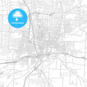 Canton, Ohio, USA, bright outlined vector map - HEBSTREITS Sketches