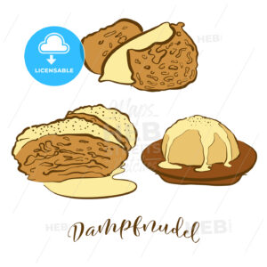 Colored sketches of Dampfnudel bread - HEBSTREITS Sketches