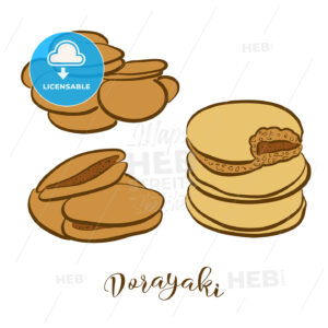 Colored sketches of Dorayaki bread - HEBSTREITS Sketches