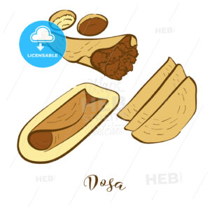 Colored sketches of Dosa bread - HEBSTREITS Sketches