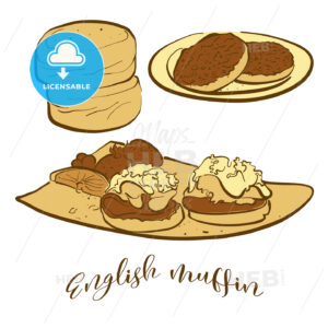 Colored sketches of English muffin bread - HEBSTREITS Sketches