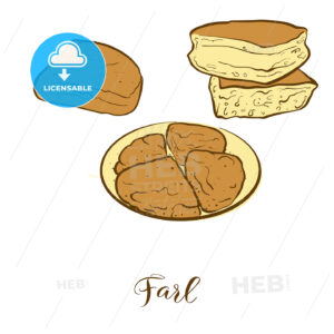 Colored sketches of Farl bread - HEBSTREITS Sketches
