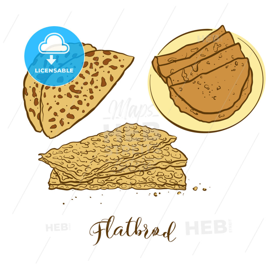 Colored sketches of Flatbrød bread - HEBSTREITS Sketches