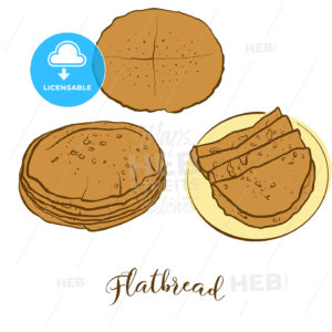 Colored sketches of Flatbread bread - HEBSTREITS Sketches