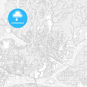 Coquitlam, British Columbia, Canada, bright outlined vector map - HEBSTREITS Sketches