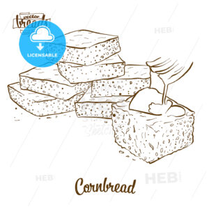 Cornbread bread vector drawing - HEBSTREITS Sketches