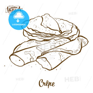 Crêpe bread vector drawing - HEBSTREITS Sketches