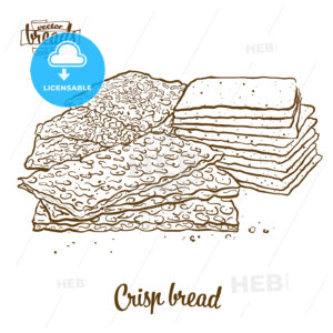 Crisp bread bread vector drawing - HEBSTREITS Sketches
