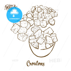 Croutons bread vector drawing - HEBSTREITS Sketches