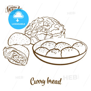 Curry bread bread vector drawing - HEBSTREITS Sketches