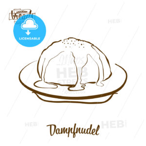 Dampfnudel bread vector drawing - HEBSTREITS Sketches