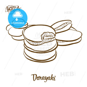 Dorayaki bread vector drawing - HEBSTREITS Sketches