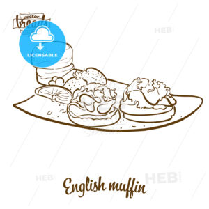 English muffin bread vector drawing - HEBSTREITS Sketches