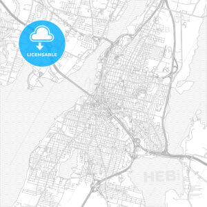 Fall River, Massachusetts, USA, bright outlined vector map - HEBSTREITS Sketches