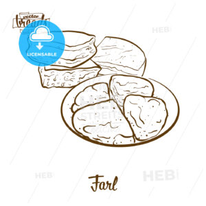 Farl bread vector drawing - HEBSTREITS Sketches