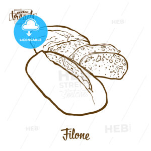 Filone bread vector drawing - HEBSTREITS Sketches