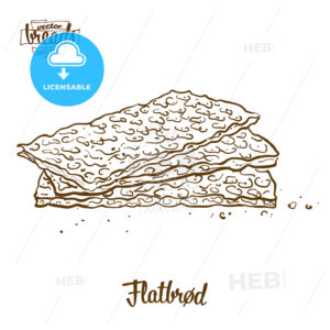 Flatbrød bread vector drawing - HEBSTREITS Sketches