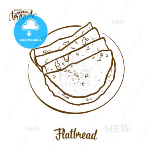 Flatbread bread vector drawing - HEBSTREITS Sketches
