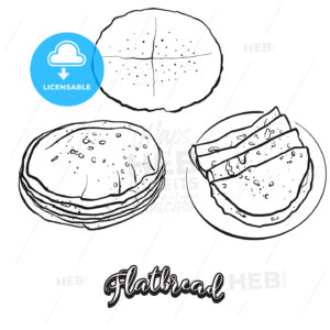Flatbread food sketch on chalkboard - HEBSTREITS Sketches