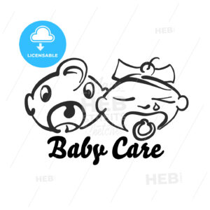 Funny baby care icon - HEBSTREITS Sketches