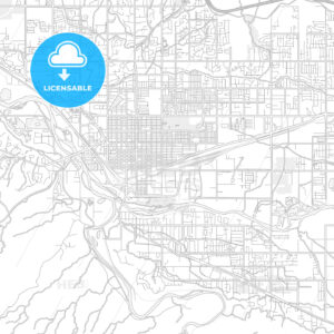 Grand Junction, Colorado, USA, bright outlined vector map - HEBSTREITS Sketches