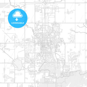 Grande Prairie, Alberta, Canada, bright outlined vector map - HEBSTREITS Sketches