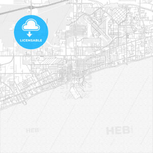 Gulfport, Mississippi, USA, bright outlined vector map - HEBSTREITS Sketches
