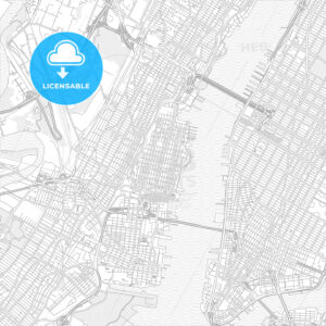 Hoboken, New Jersey, USA, bright outlined vector map - HEBSTREITS Sketches