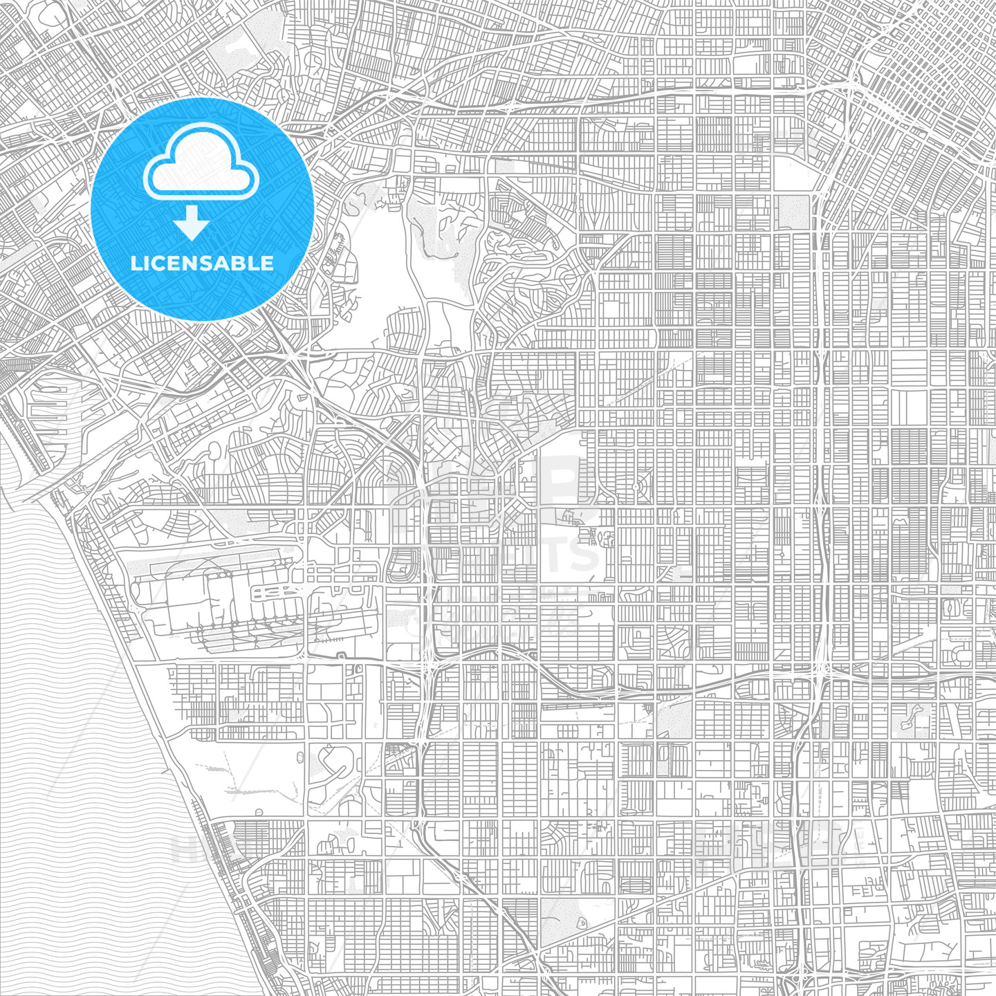 Inglewood, California, USA, bright outlined vector map