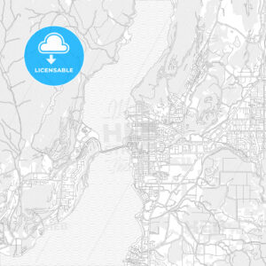 Kelowna, British Columbia, Canada, bright outlined vector map - HEBSTREITS Sketches